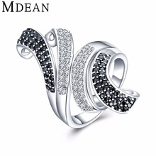 MDEAN New White Gold Plated Rings for women engagement CZ diamond jewelry vintage women wedding rings fashion Accessories MSR807