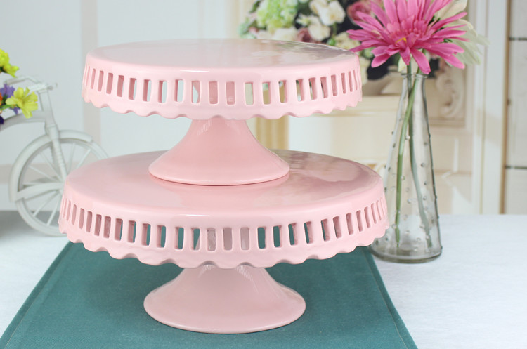 wholesale 8 inch 10 inch 12 inch hollow ceramic cake stand wedding pink cake pan wedding cake plate cupcake decoration display-in Stands from Home \u0026 Garden ... & wholesale 8 inch 10 inch 12 inch hollow ceramic cake stand wedding ...