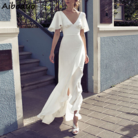 Long White Cascading Ruffle Party Beach Dress Women Sexy V neck Flare Short Sleeve Elegant Dress Satin Silk Maxi Vestidos