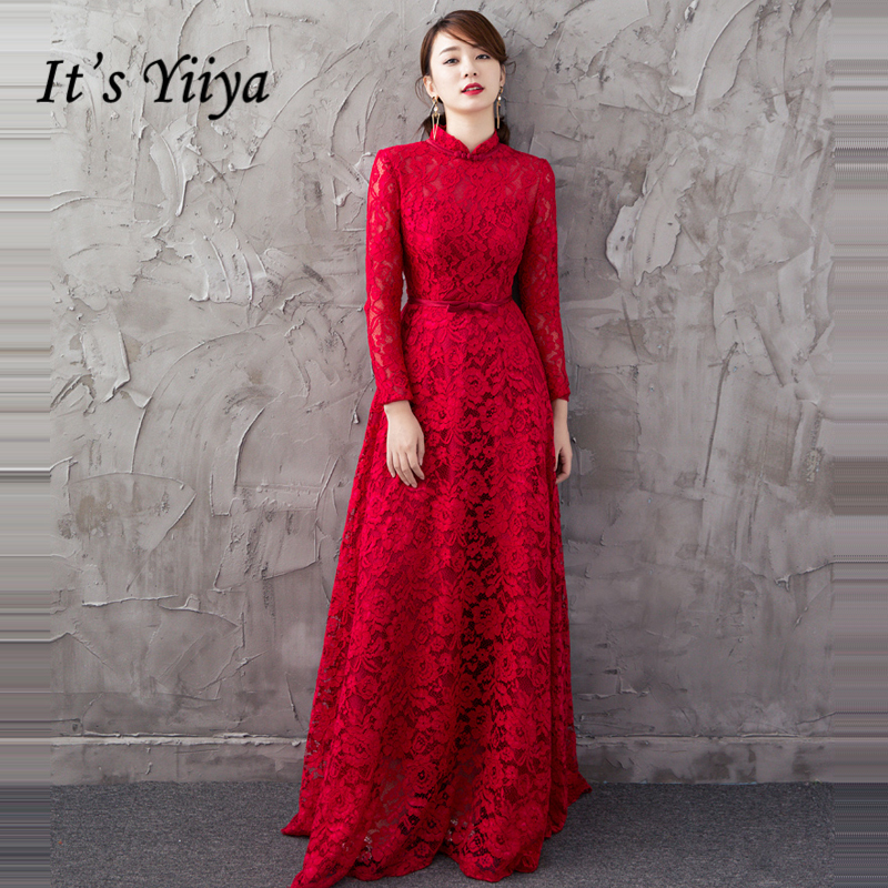 It's YiiYa Prom Gowns Wine Red High Neck Full Sleeves Muslim A-line Floor Lenght Lace Custom Plus Size Prom Dresses Long E446