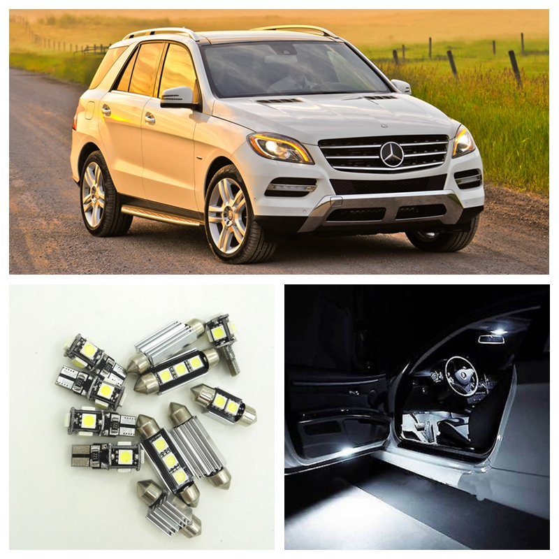 15pcs White Canbus Car LED Light Bulbs Interior Package Kit For 1998-2005 Mercedes Benz M-Class Map Dome Trunk Door Lamp 4 door mercedes m class 1998 2004 nld smerm9832