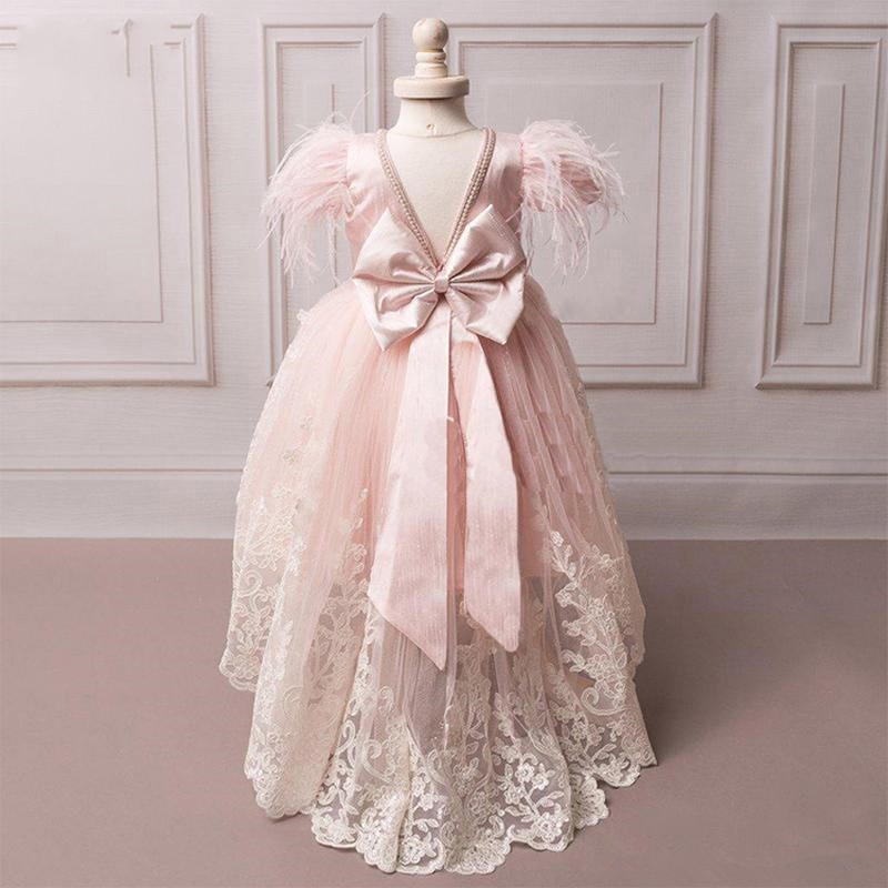 Blush Pink Girl Communion Dresses Girls Pageant Dress Appliques Bow Flower Girl Dress Kids Birthday Party Wear Capped Sleeve