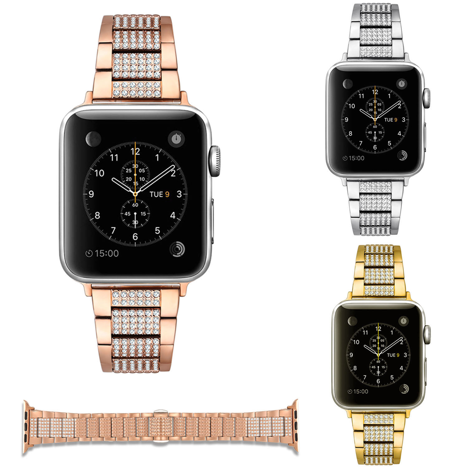 3Z Glitter Bling Rhinestones Link Bracelet for Apple Watch Series 3 2 1 Band Stainless Steel Shiny Strap for iWatch 42mm 38mm dahase bling rhinestone link bracelet for apple watch band stainless steel strap for iwatch 38mm 42mm series 1 2 3 belt