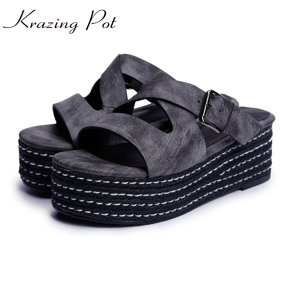 Krazing Pot wedges women sandals big size slip on waterproof slingback peep toe mules increased superstar outside slippers L20 shinehome fashion makeups modelling salon beauty cosmetic 3d wallpaper wallpapers photo walls murals for 3 d roll wall paper