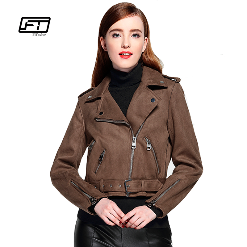 Fitaylor Women Faux   Suede   Jacket Slim Punk   Leather   Jacket Woman Bikers Pink   Leather   Jacket Moto Jacket Autumn Outwear