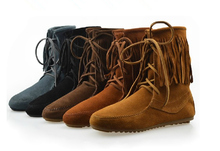 Плюс Размер US4-US9.5 EUR 40 41 42 женские Кожаные Плоские Пятки Fringe Мокасины Круглый Носок Ботильоны Обувь Laides сапоги