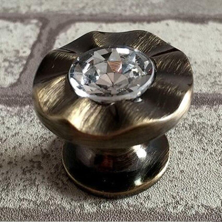 Compra perillas del gabinete de cocina de cristal de bronce online ...