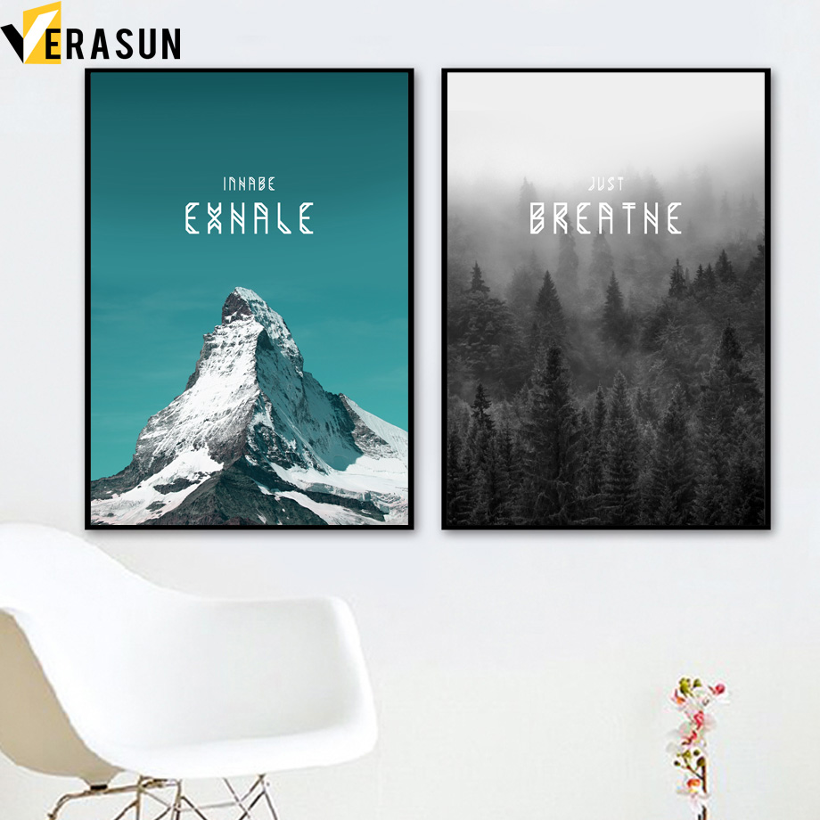 Snow Mountain Forest Landscape Nordic Posters And Prints Wall Art Canvas Painting Canvas Art Wall Pictures For Living Room Decor
