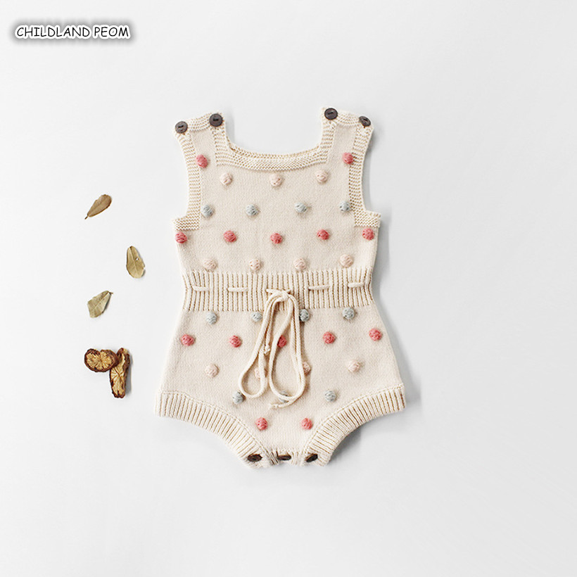 Knitted Baby Clothes 2019 Newborn Baby   Rompers   Handmade Pompom Baby Girl   Romper   100% Cotton Infant Baby Boys Jumpsuit Overalls