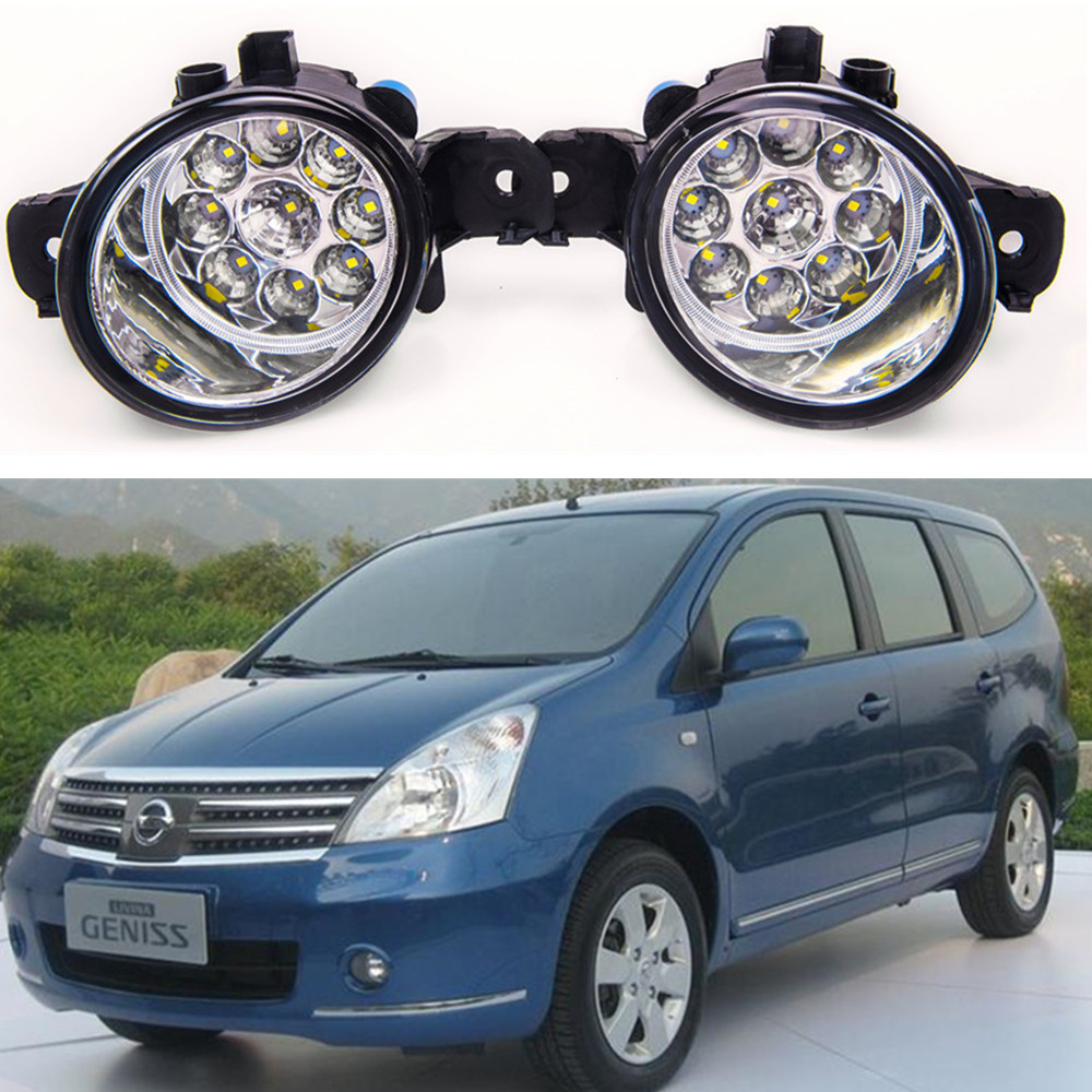 For NISSAN GENISS 2007-2012 Car styling front bumper LED fog Lights high brightness fog lamps 1set for lexus rx gyl1 ggl15 agl10 450h awd 350 awd 2008 2013 car styling led fog lights high brightness fog lamps 1set
