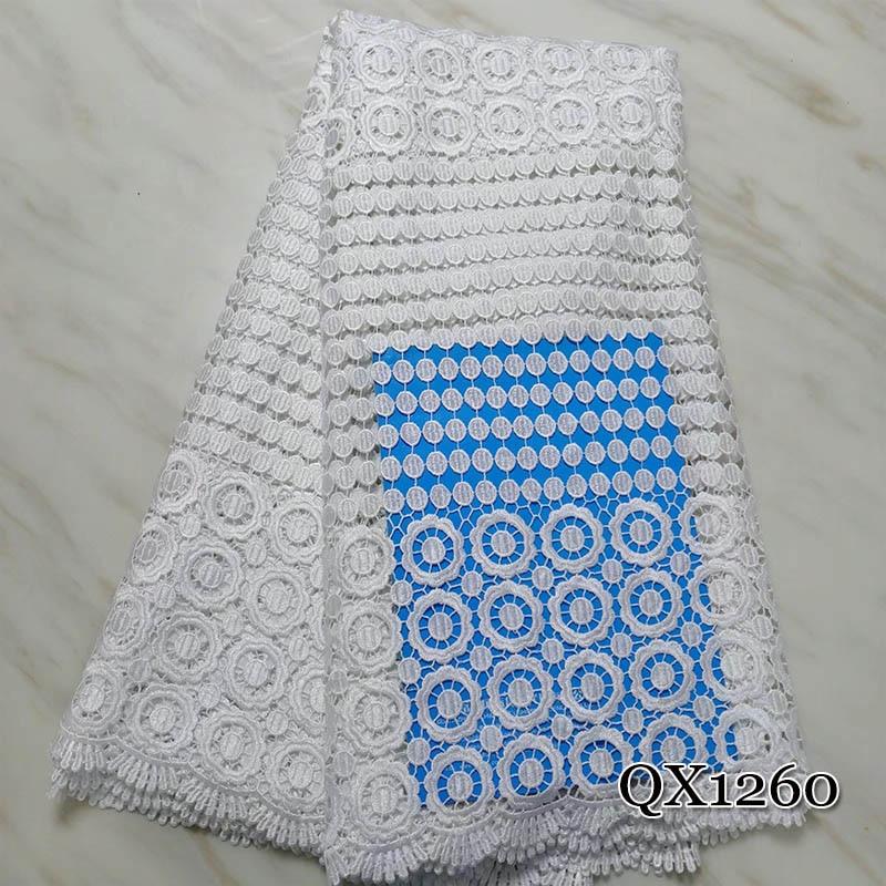 Belle fleur africaine Guipure dentelle tissu blanc et bleu haute qualité africaine Soluble dans l'eau cordon dentelle tissu