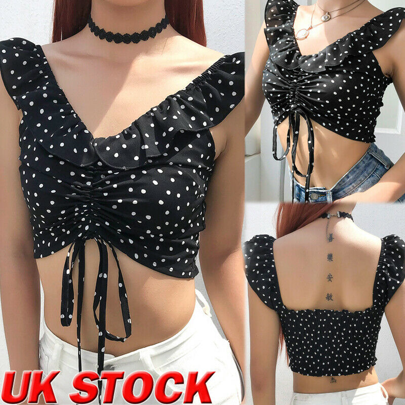 2019 Brand New Fashion Summer Women Shirt Dot Printed Bandage Blouse Casual Tops Vest(China)