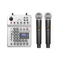 LEORY F 12T USB Audio DJ Mixer KTV Microphone Nono Input 2 Wireless Microphone 48V Phantom Power For KTV
