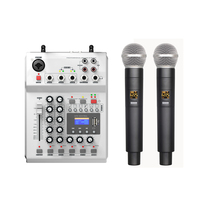 LEORY F 12T USB Audio DJ Mixer KTV Microphone Nono Input 2 Wireless Microphone 48V Phantom Power For KTV