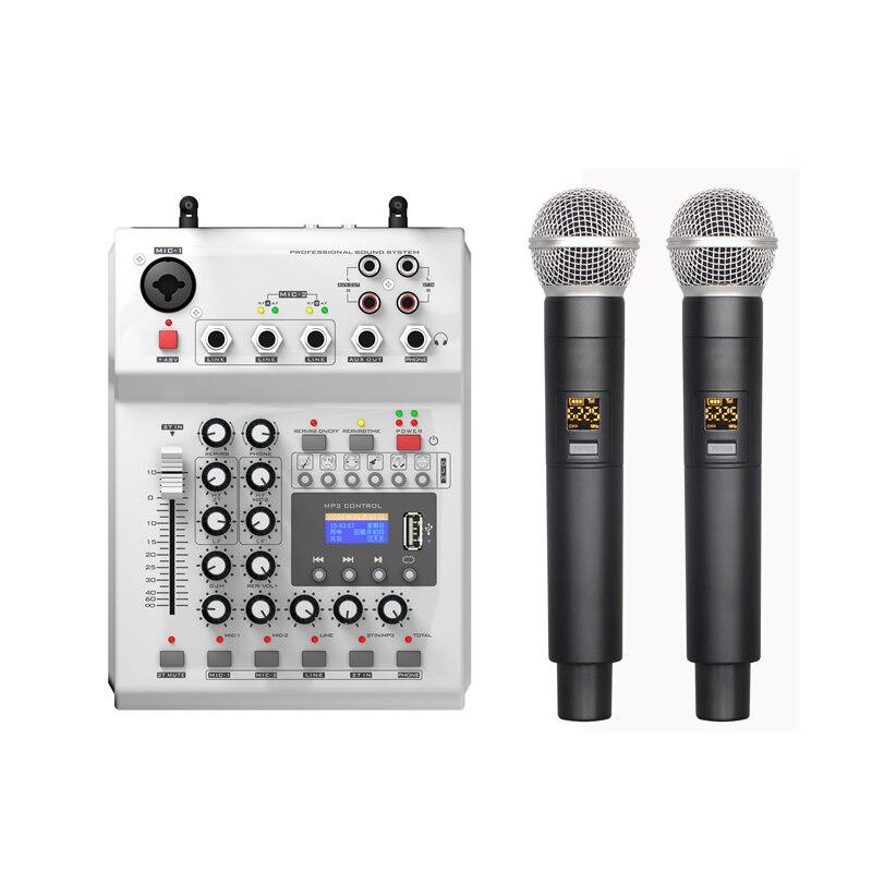 LEORY F-12T-USB Audio DJ table de mixage KTV Microphone Nono entrée 2 micro sans fil 48 V alimentation fantôme pour KTV
