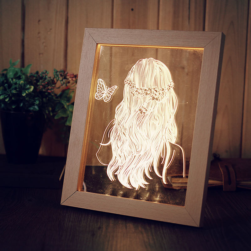 цена на Creative 3D LED Table Light Solid Wood 3D Gift Lamp Bedside Lamp Decorative Photo Frame light with USB Plug Birthday Gifts