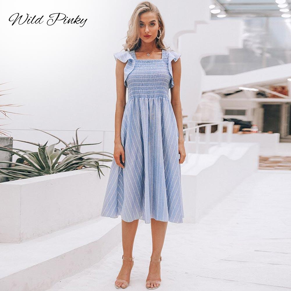 WildPinky Sleeveless Striped Beach Dresses Elegant Summer Ruffles Tank Casual Long Dress Women Sundress Vestidos De Fiesta in Dresses from Women 39 s Clothing