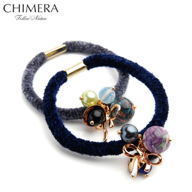 2pcs Hair Circle Band Flannel Elastic Hair Ties Gum Rubber Band Fashion  Marble Beads Hair Ring 2689c8aeded