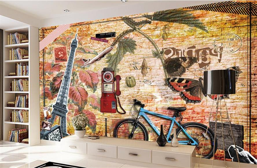 где купить 3d room mural wallpaper Youth nostalgia study Painting custom non-woven Sticker TV background walls photo wallpaper for wall 3d по лучшей цене