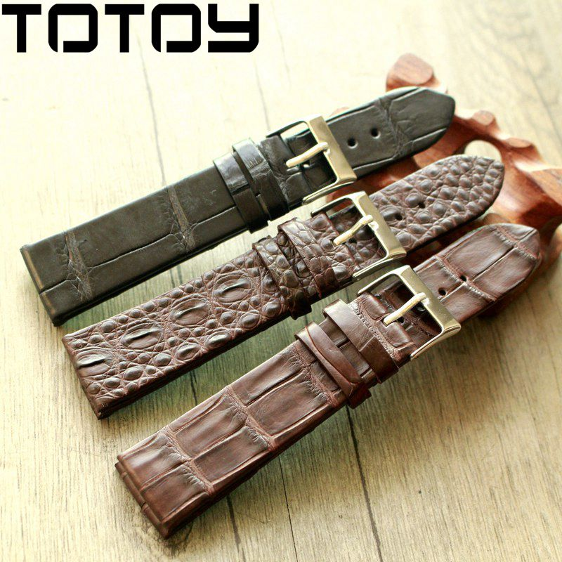 Image 2 - TOTOY Handmade Crocodile Leather Watchbands,Matching Antique Rretro Watchbands, 18 20 22MM Leather Men's Strap, Fast Delivery-in Watchbands from Watches