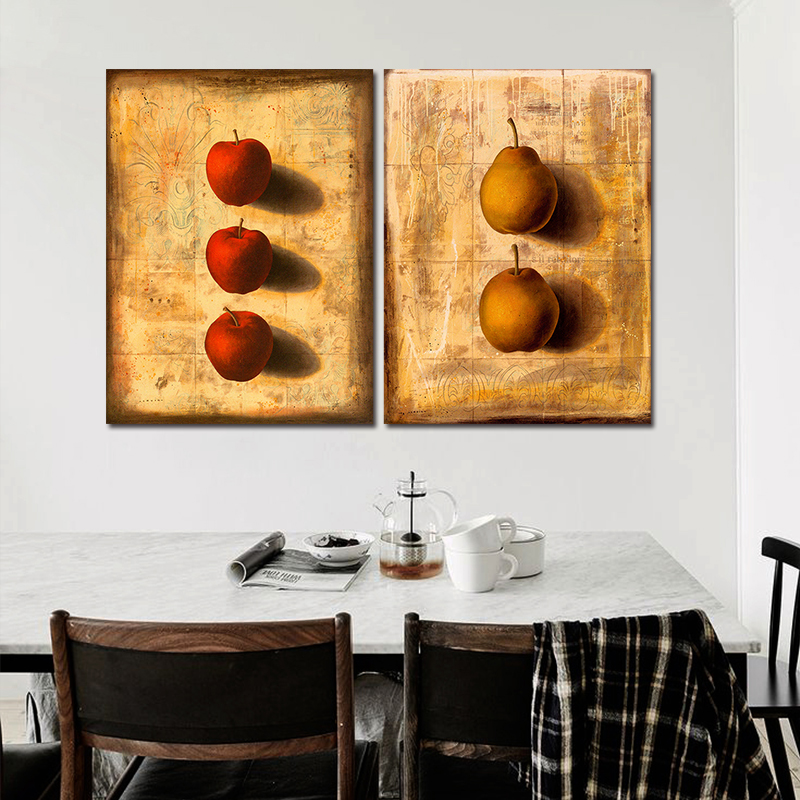 Retro 2Pcs/Set 3D Still Life Fruit Red Apple Pear Decoration Wall Art  Picture Slate Pattern Canvas Painting Home Decor Unframed In Painting U0026  Calligraphy ...