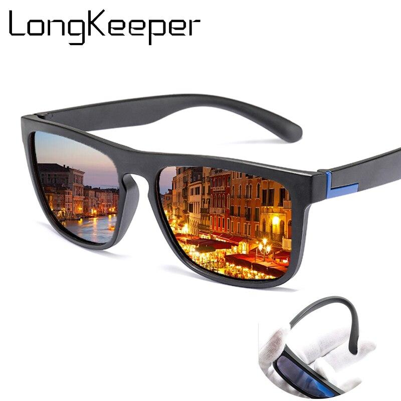 Hommes lunettes de soleil polarisées TR90 Vintage Anti-UV conduite pilote noir lunettes lunettes Rectangle nuances hommes Oculos masculino mâle