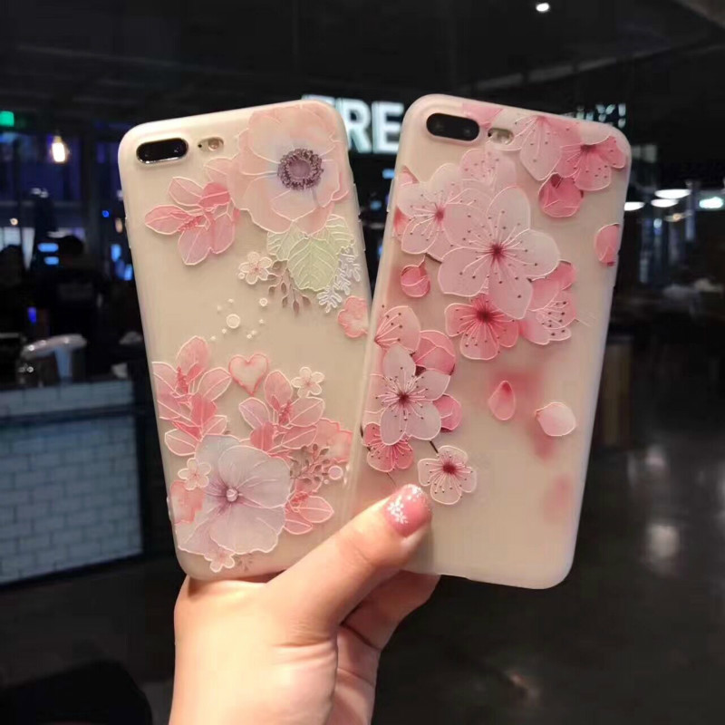 Xindiman Floral patterned mobile phone case for iphone7plus 3D relief Silicon Soft TPU phone back cover for iphone7 6 6s 6plus