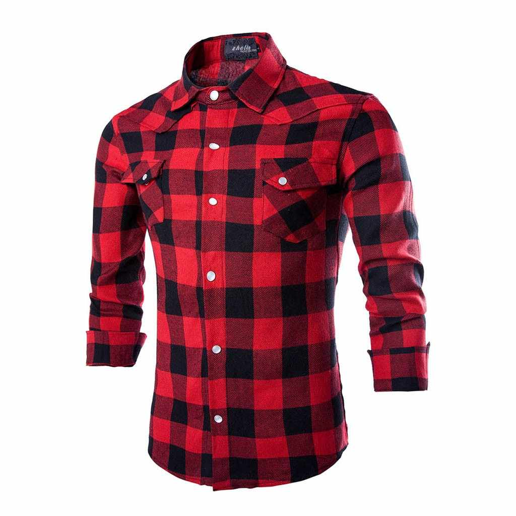 JAYCOSIN 2019 New Men's Red Black Plaid Flannel Long Sleeve Social Masculino Autumn Button Shirt Casual