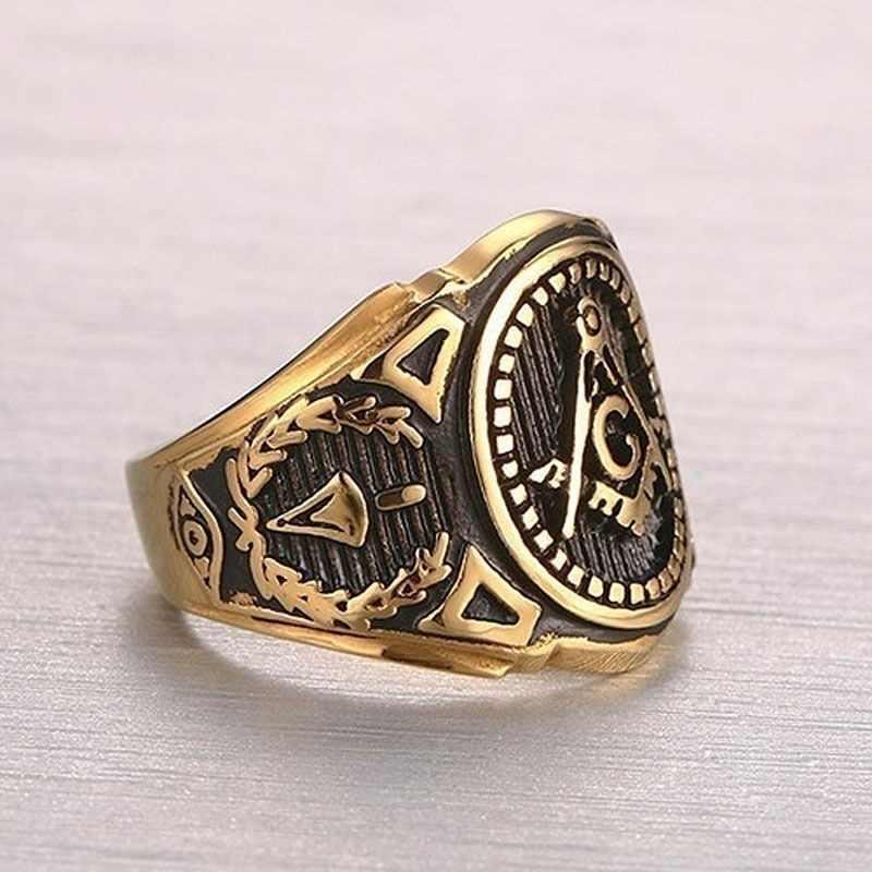 Masonik Stainless Steel Cincin untuk Pria Emas Perhiasan Kristal Cincin Pria Cincin Pertunangan untuk Perempuan Janji Pernikahan Rin