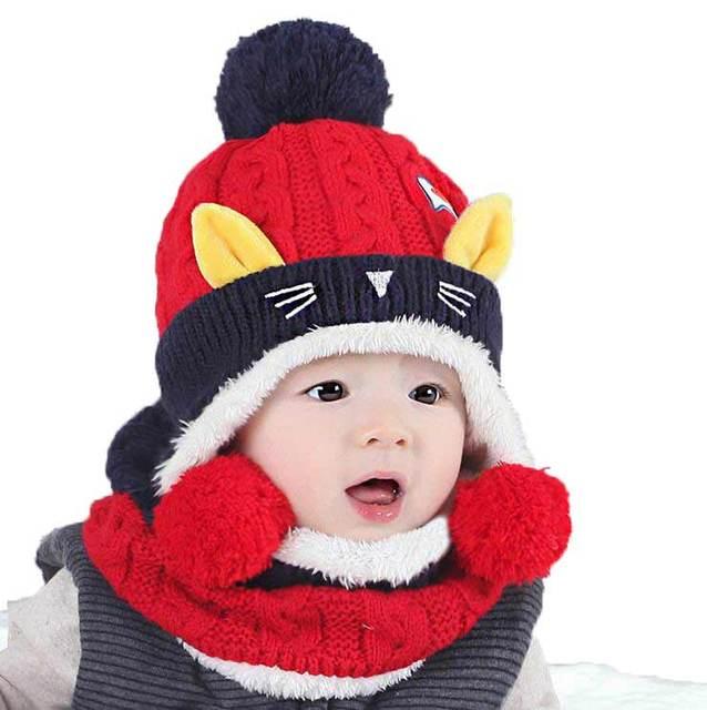 Bufanda del sombrero del bebé para las muchachas diseño gato Beanies  Bobbles onda niño niños tejer 45367db3caa