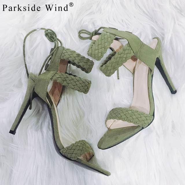 Parkside Wind Summer Nude Suede Sandals Size 36-41 Women Ankle Strap Sandals Concise Classic High Heels Party Casual Shoes -5
