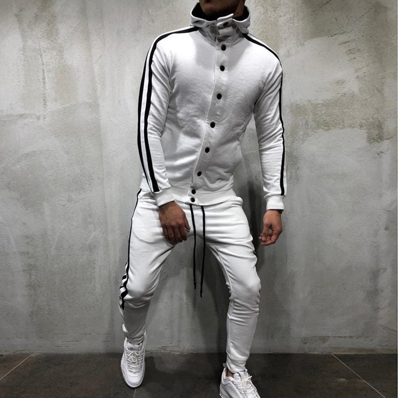 Generous Men Sport Suit Slim Fit Stripe Long Sleeve Button Sportwear Sets Autumn Winter Running Sets Sweat Gyms Jogging Male Tracksuit