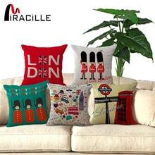 45x45cm UK London phone booth bus models linen cushions London for sofa car decorative almofadas cojines decorative pillows