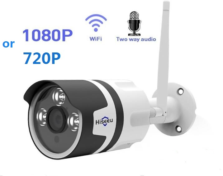 wifi outdoor IP camera 1080P 720P waterproof 2.0MP wireless security camera metal two way audio TF card record P2P bullet