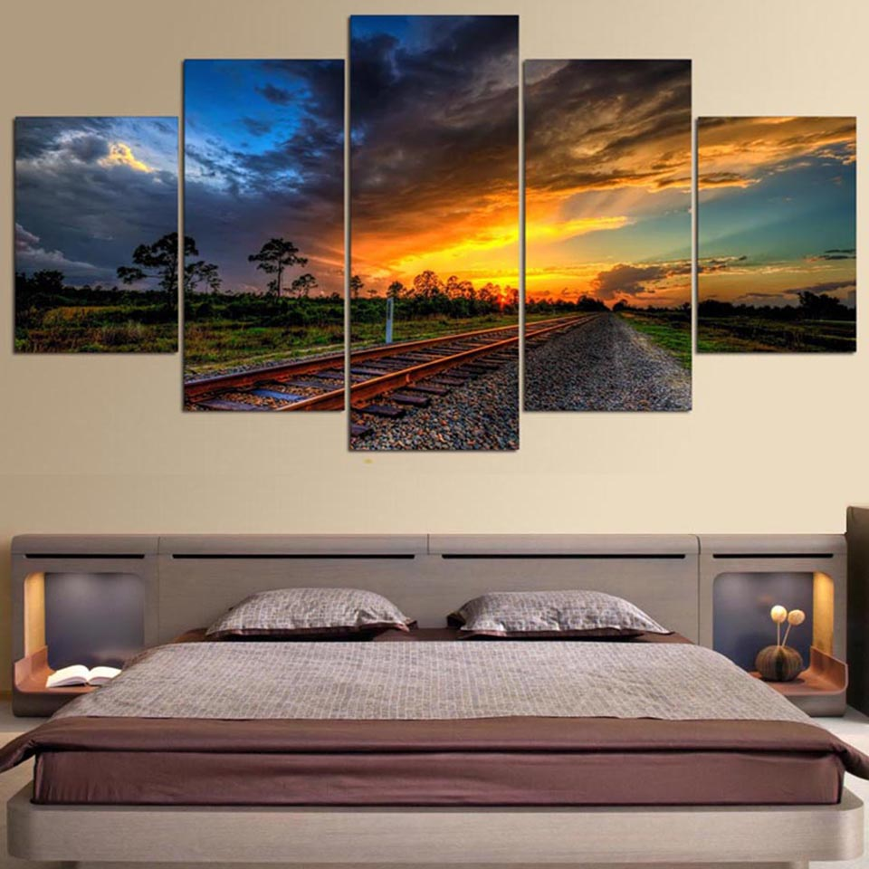 HD Printed Posters Modern Wall Art Pictures Framework 5 Panel Railway Dusk Glow Clouds Home Decoration Living Room Paintings
