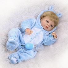 Nicery 22inch 55cm Magnetic Mouth Reborn Baby Doll Hard Silicone Lifelike Toy Gift for Child Christmas Blue Rabbit Boy Lovely