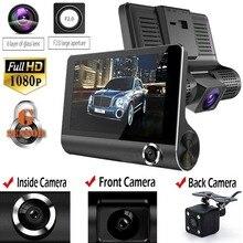 4.0 polegada 1080 p lente dupla completa hd carro dvr câmera de 170 graus visão noturna retrovisor carro automático traço câmera gravador g sensor dashcam