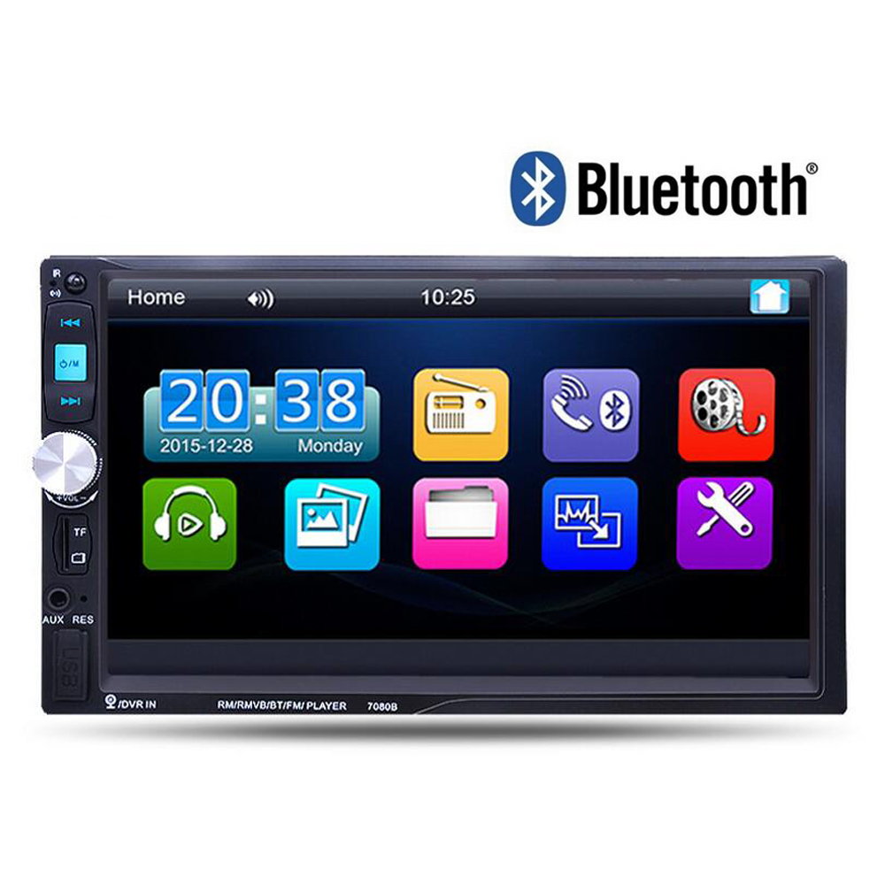 2 Din 7'' Car Radio Player Audio Stereo Bluetooth MP3 MP5 FM AUX Player Multiple Languages Menu Autoradio 1 din car radio 4 1 inch stereo player mp3 mp5 car audio player bluetooth steering wheel remote control usb aux fm