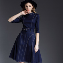 High Quality New Fashion Denim Dress 2016 Autumn Winter Women Color Block Stitch 3/4 Sleeve Dark Blue Denim Jean Dress Casual