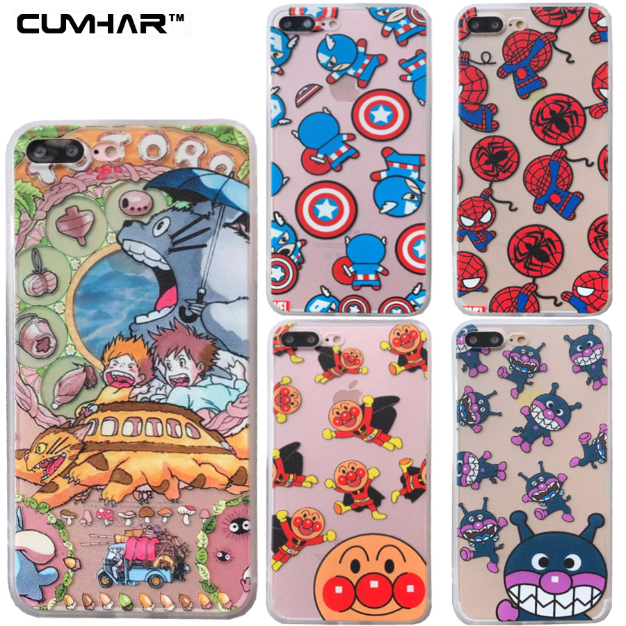 Bande dessinée Pour iPhone X Cas Peu Batman Spiderman Ironman Capitaine Lapin Thor Hulk Couverture pour iPhone 5 5S SE 6 6 S 7 8 Plus cas