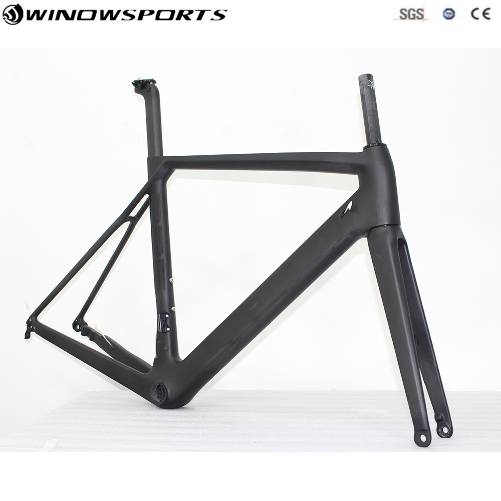 Aero Disc road bike carbon road frame thru axle 142mmX12mm thru axle package include frame+fork+seatpost+headset road bike frame 2017 newest 1 1 disc road bike frame 4 sizes for disc carbon frame ultra light frame fork seat post headset bb adapter thru axel
