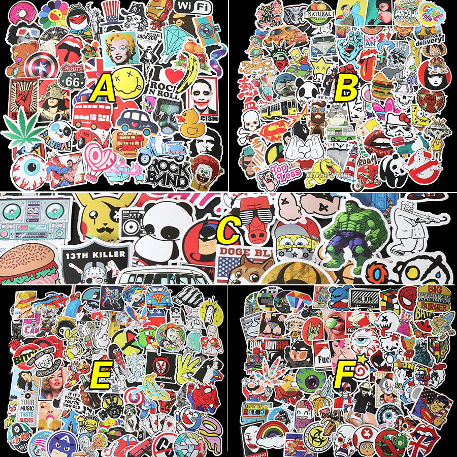 Car sticker design shop - 100pcs X6 Kinds Not Repeating Waterproof Stickers For Wall Decor Sliding Plate Motorcycle Bike Refrigerator Laptop Car Stickers