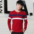 2016 Autumn New Casual Long Sleeve Camiseta De Los Hombres Stripe Cotton Poleras Manga Larga Hombre