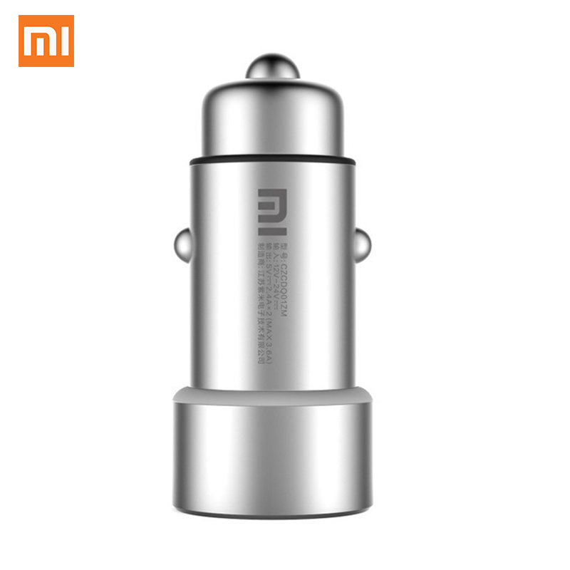 Original Xiaomi Mi Car Charger Mi 2 in 1 Double USB Fast Charging Car Charger Metal