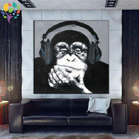 Hand Painted Modern Pop Animal Art Paiting Black And White Animals Oil Painting Monkey Ape Wall