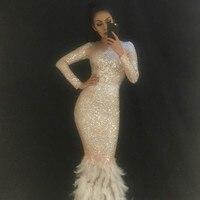 Для женщин пикантные Длинные Юбка сверкающими кристаллами белый Перо хвоста Fashion Show для ночного клуба для вечеринки, дня рождения Bling танцев