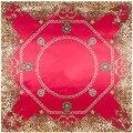 [Lesida] vermelho azul quadrado lenço de seda novo design leopardo cadeia de impressão viscose cachecóis xale para senhoras europeu stytle 90*90 centímetros 9110