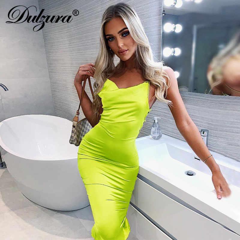 Dulzura неоновый атласный со шнуровкой 2019 летние женские облегающие длинные миди платье без рукавов с открытой спиной Элегантные Вечерние наряды сексуальная клубная одежда