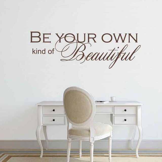 BATTOO Girls Wall Decor Quotes  Be Your Own Kind Of Beautiful  Girly Saying  Bedroom Bathroom Decoration Wall Stickers Mural Art