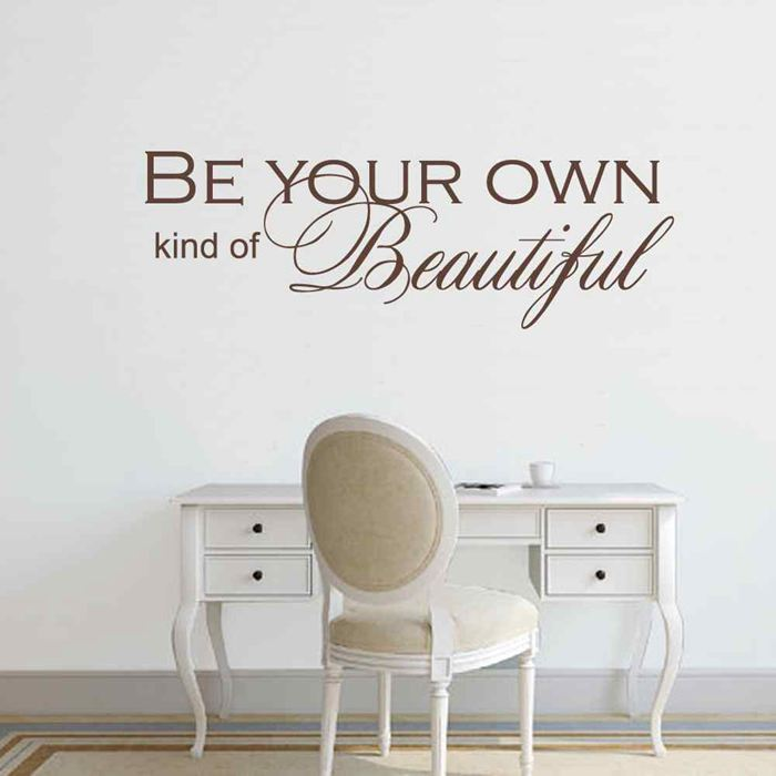BATTOO Girls Wall Decor Quotes- Be your own kind of Beautiful- Girly Saying Bedroom Bathroom Decoration Wall Stickers Mural Art